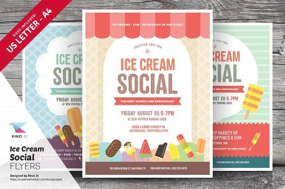 Ice Cream Social Flyer Templates By Kinzi21 On Creativemarket