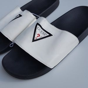 GUESS  NEW Slides White  Black mens size 12