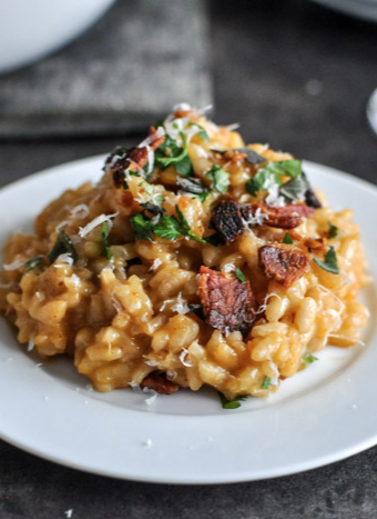 Roasted Sweet Potato Risotto With Brown Butter Bacon And Fresh Herbs Recipe Sweet Potato Risotto Risotto Recipes Roasted Sweet Potatoes
