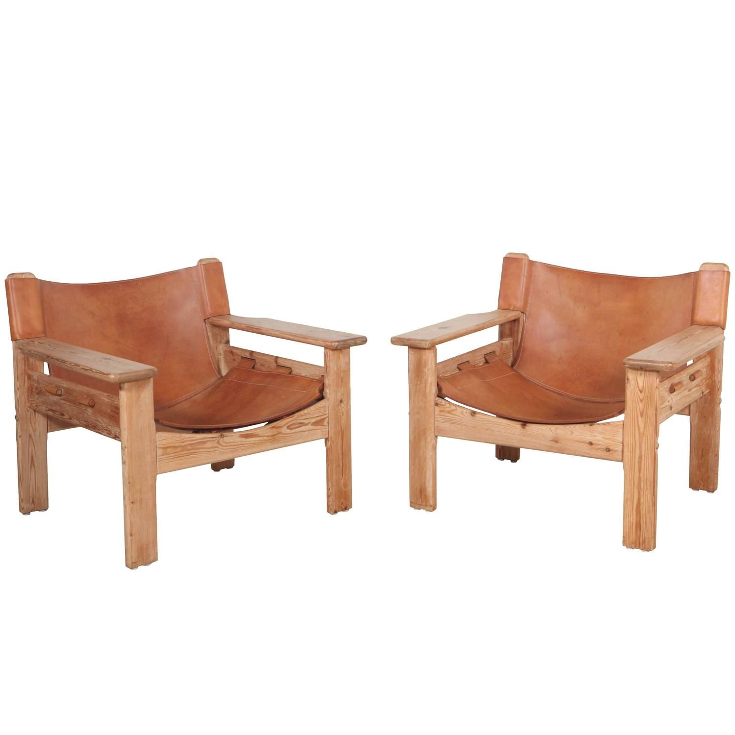 Pair of Wide Arm Bernt Petersen Leather and Oak Lounge Chairs is part of Chair - View this item and discover similar lounge chairs for sale at 1stdibs  Beautiful Danish sling chairs by Bernt Petersen in the style of Borge Mogensen