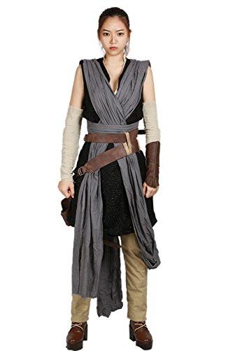 6c866906b134b Rey Costume Deluxe Cool Full Set Tops Belt Tunic Movie Cosplay Women ...