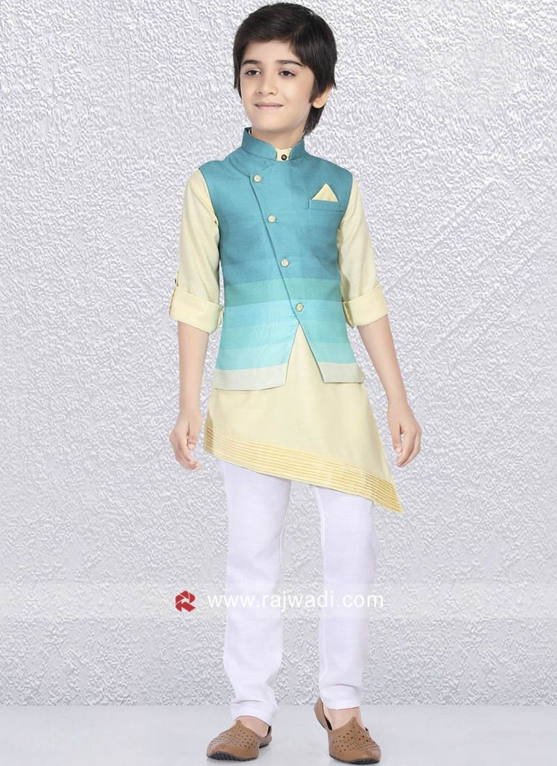 1c967d152 Art silk fabric Sky blue color Koti is enhanced with fancy button. Comes  along with this Linen cotton fabric Light yellow Kurta and white color  bottom ...