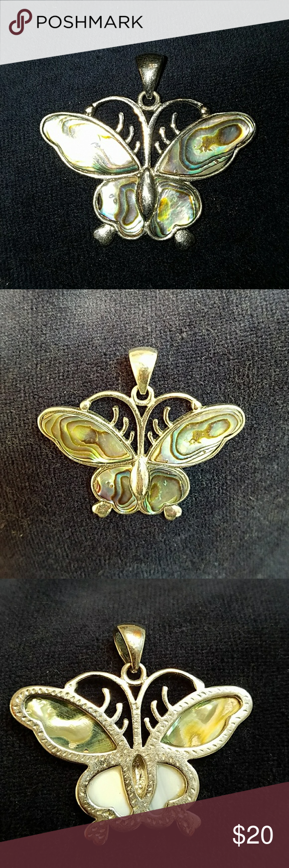 """Beautiful Butterfly Pendant Blue and green iridescent mother of pearl. Pendant only, no chain. 1 3/4 x 1 1/2"""" Jewelry Necklaces"""