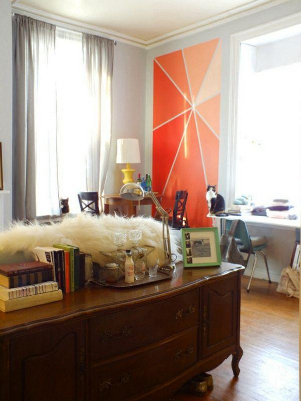 Tolle Wandgestaltung wände gestalten tischlampe orange akzent - wandgestaltung wohnzimmer orange