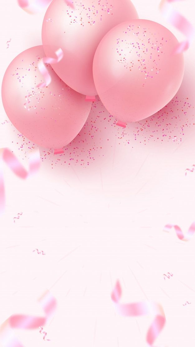 Vertical Holiday Banner Design With Pink Air Balloons, Falling Foil Confetti And Empty Space For Your Creativity On Rosy Background. Women's Day, Mother's Day, Birthday, Wedding, Anniversary Template