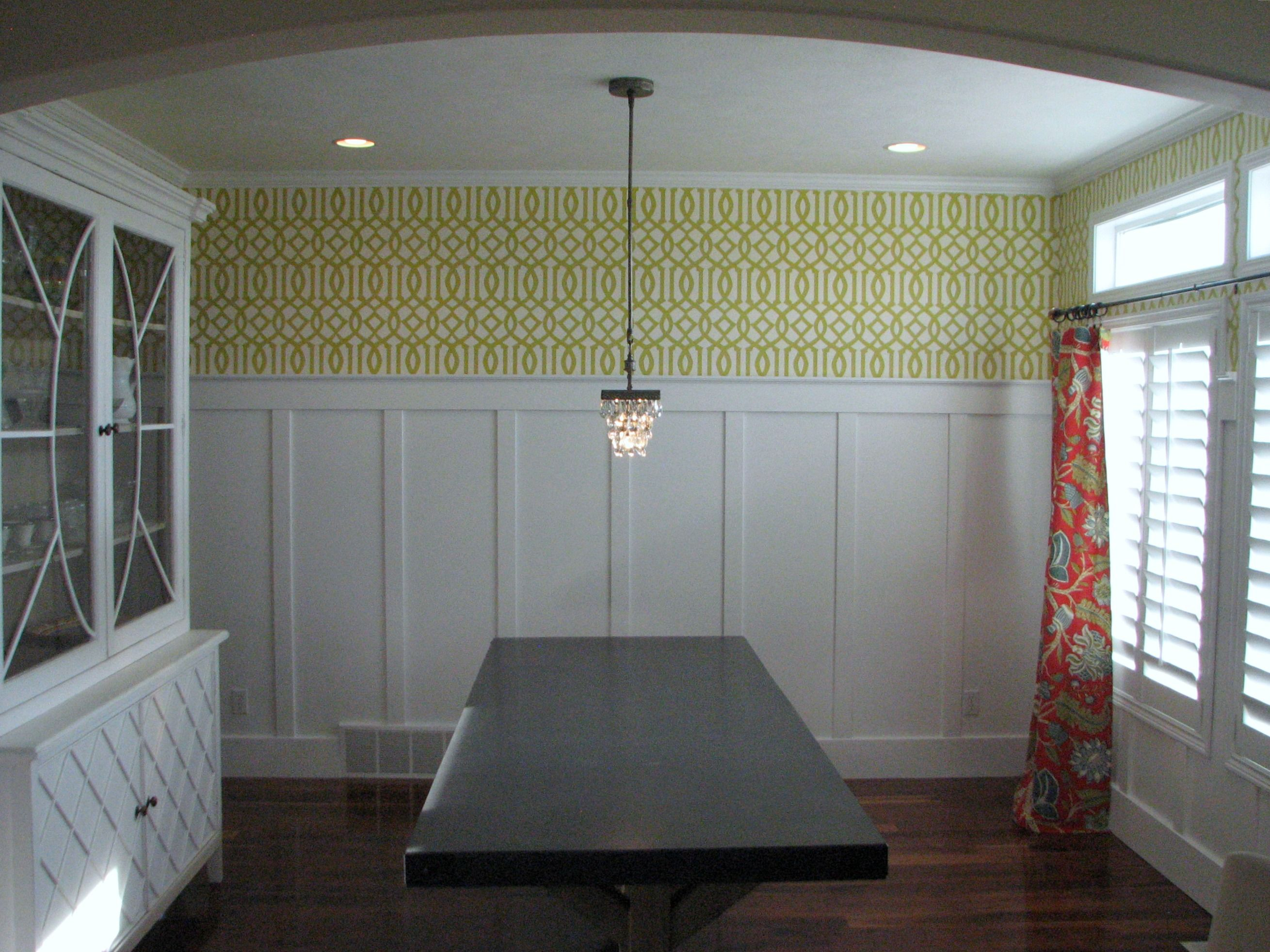 Dining Room Batten Board With Wallpaper Above Home Decor