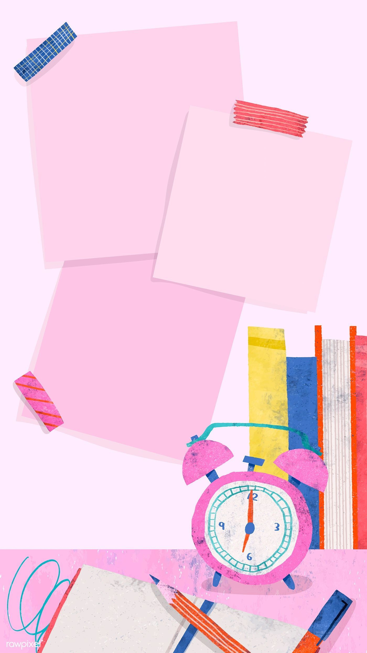 Blank pink back to school mobile phone wallpaper vector