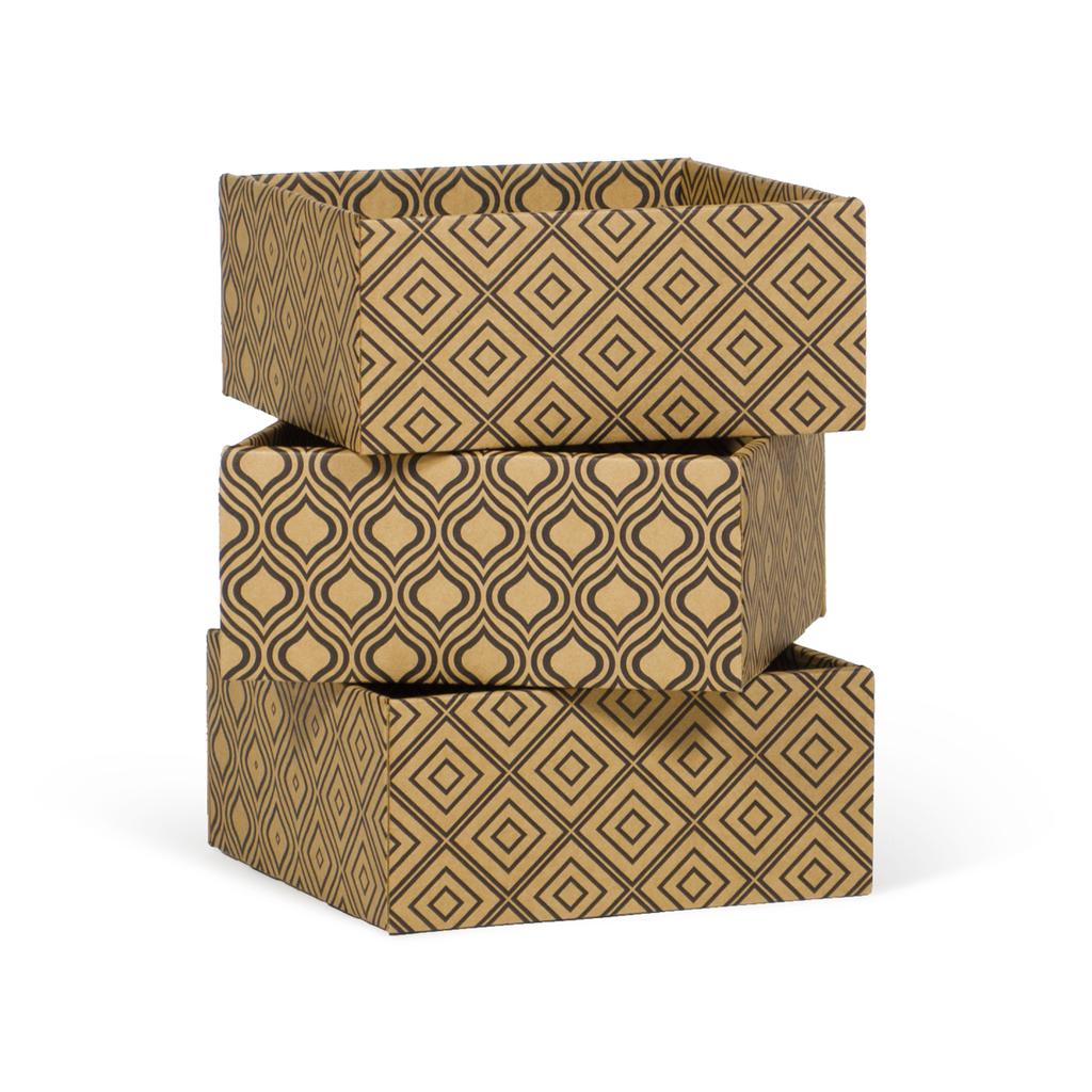 3 Short Decorative Storage Boxes