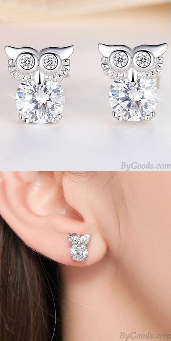 Fashion Cute Owl Women Blinking Crystal Diamond Bordered Silver Animal Earring Studs For