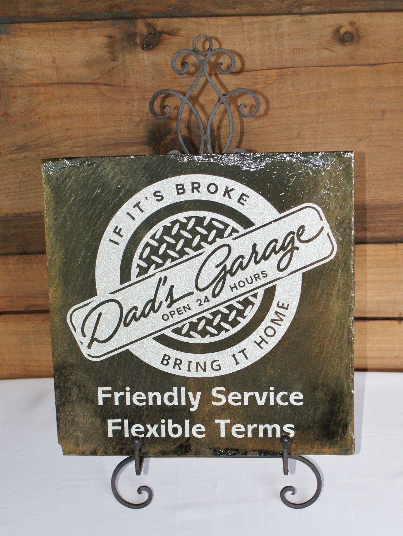 Dad S Garage Dad S Shop Dad Gift Slate Sign Diamond Plate Garage Sign Mechanic Sign Slate Signs Garage Signs Sign Dad