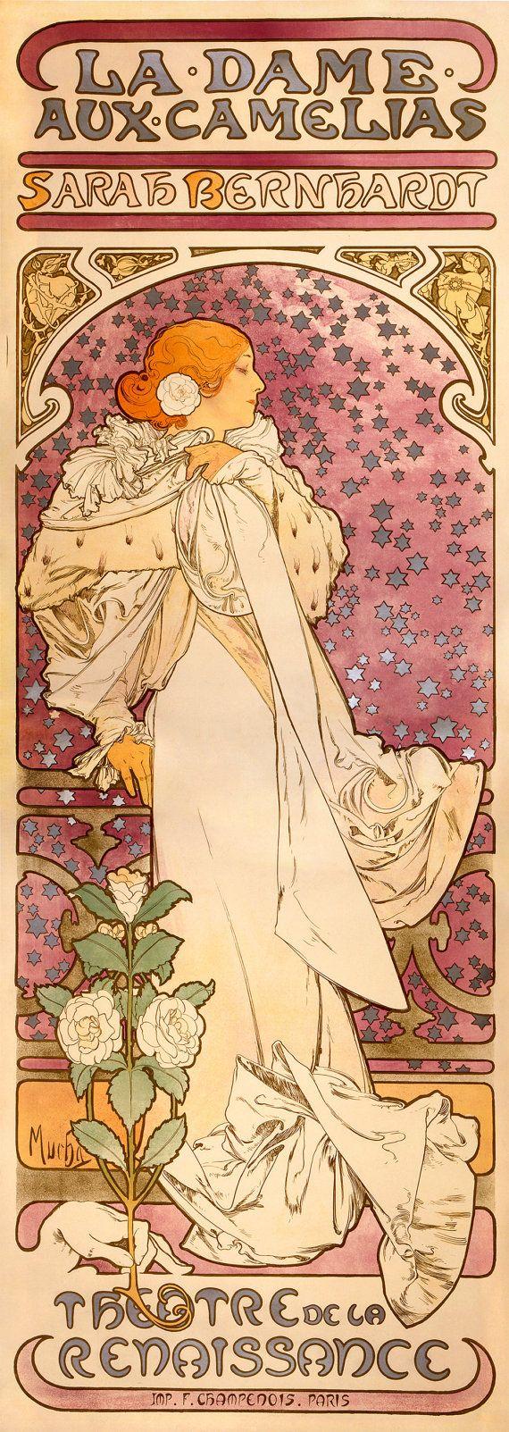 """Alfons Mucha Art Nouveau Poster : """"Sarah Bernhardt - La Dame aux Camelias"""" (1896) - Giclee Fine Art Print"""