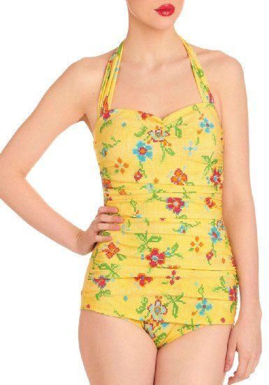 Esther Williams Needlepoint print swimsuit