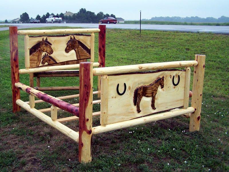 Cedar Log Horse Bed Custom Made By Fbt Sawmill U0026 Custom Wood Furniture