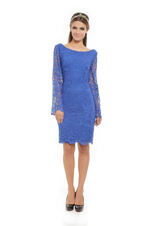 Vestido Curto Manga Longa Renda Azul - roupas-festas-iorane-f ...