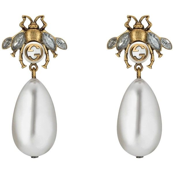 01ab98772c Gucci Bee Earrings With Drop Pearls ($440) ❤ liked on Polyvore featuring  jewelry,