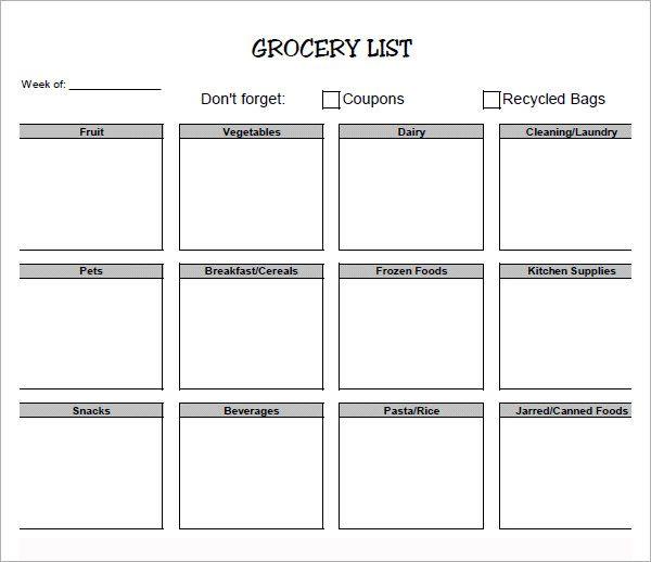 printable grocery list sample organization pinterest grocery