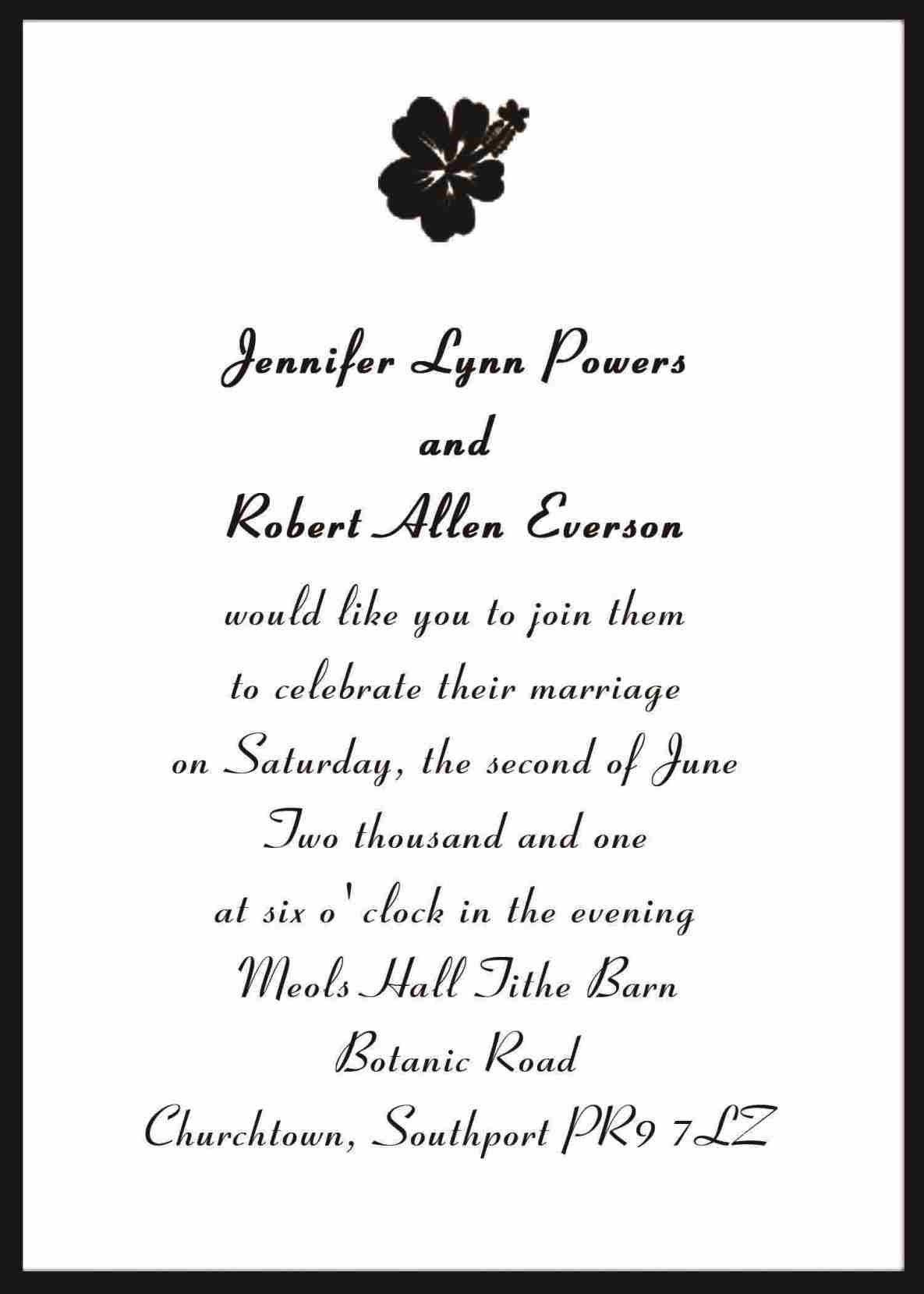 Wedding Invitation Wording Uk  Traditional wedding invitation