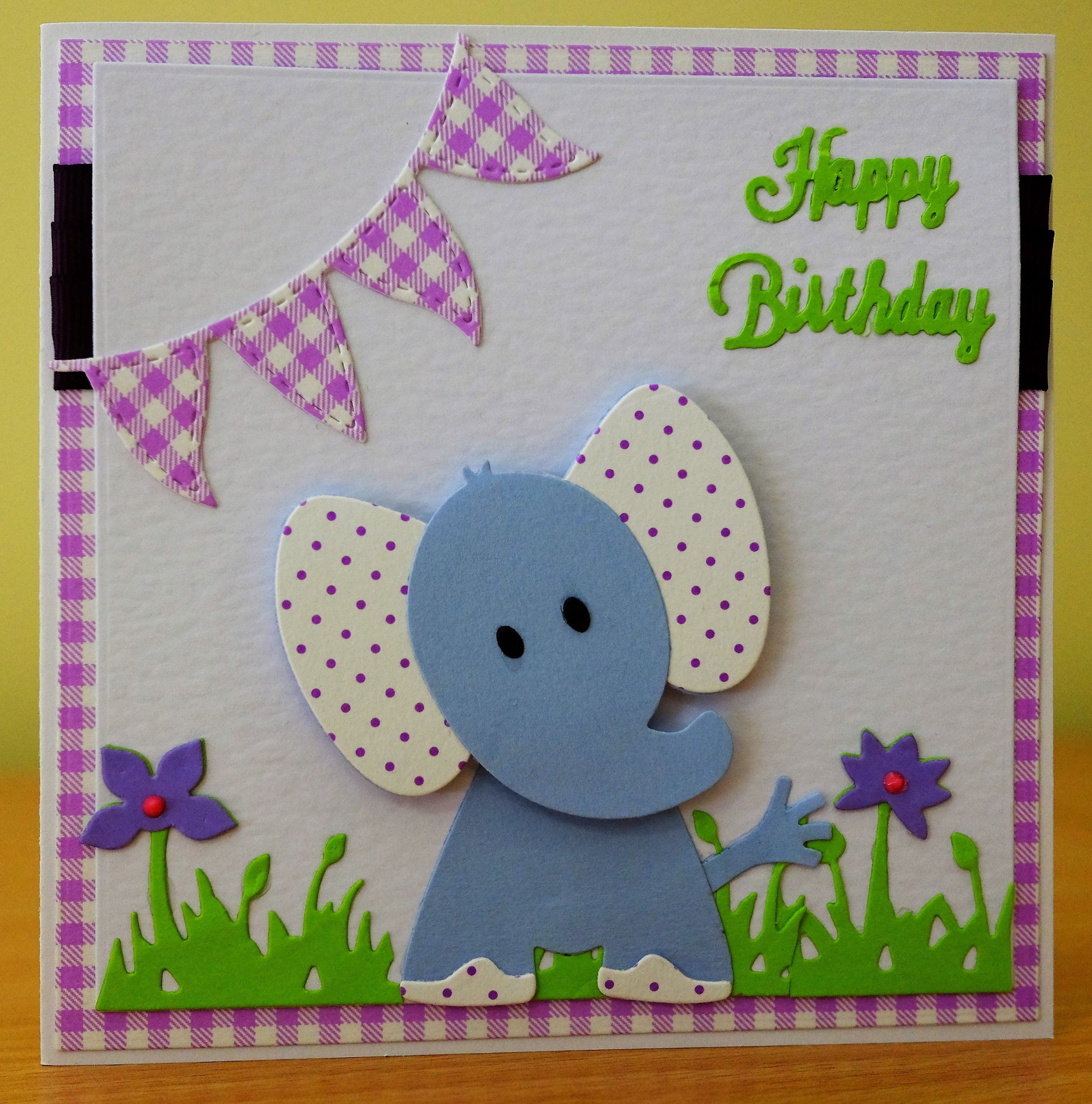 Handmade Birthday Card Marianne Collectables Elephant Die For