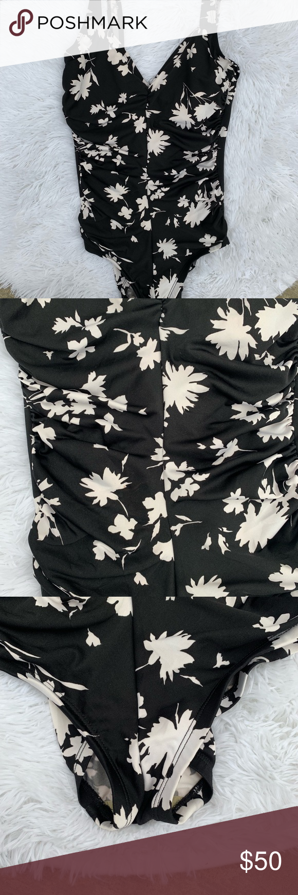 3e1f5fccee6 Vintage Gabar Ruched Floral One Piece Swimsuit Beautiful black one piece  with white flower print. Ruching down the middle, cups are lined.