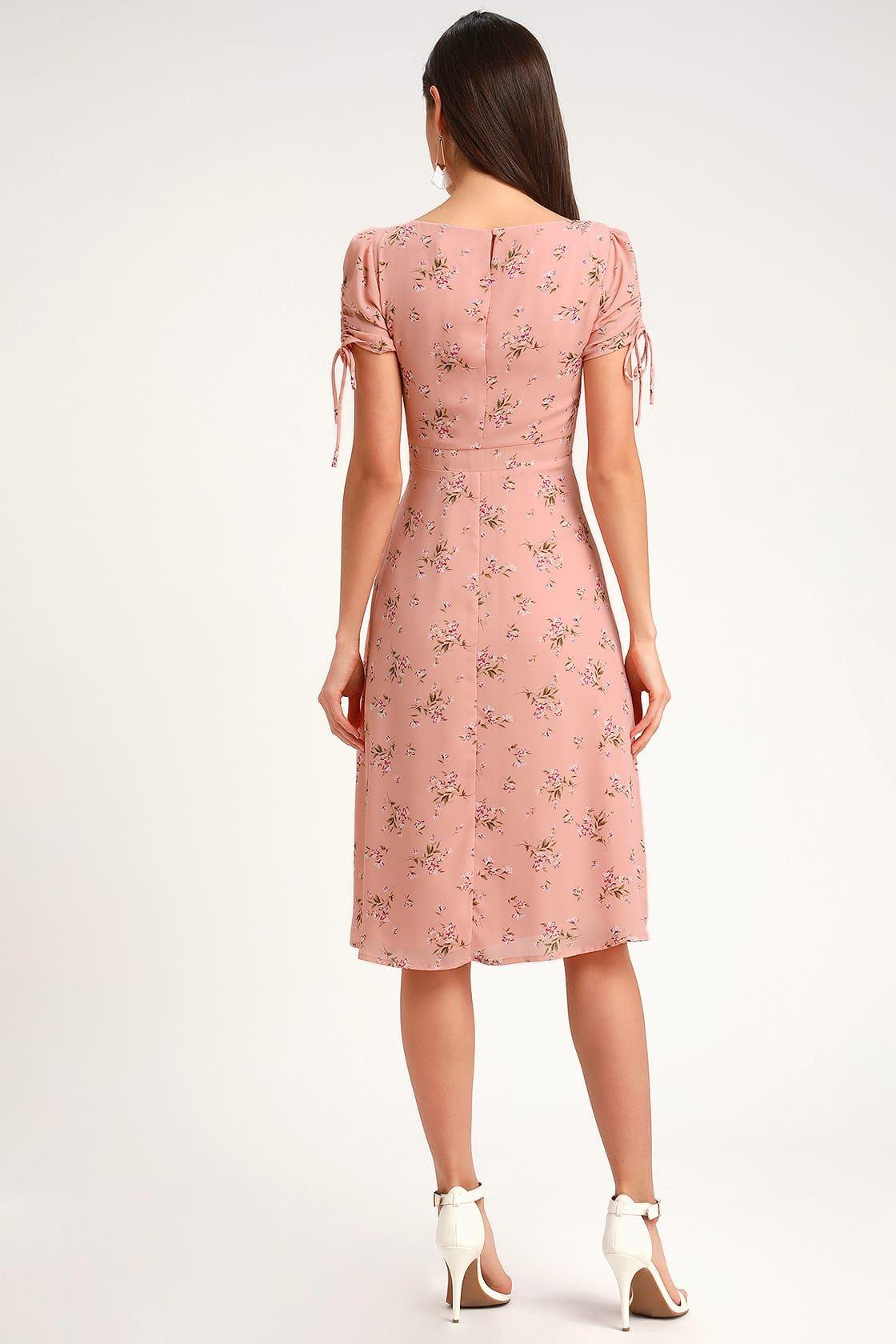 Carmel blush pink floral print short sleeve midi dress