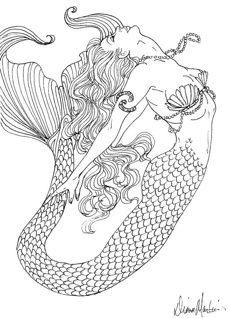 Название: Раскраска Красивая русалка в воде. Категория ...