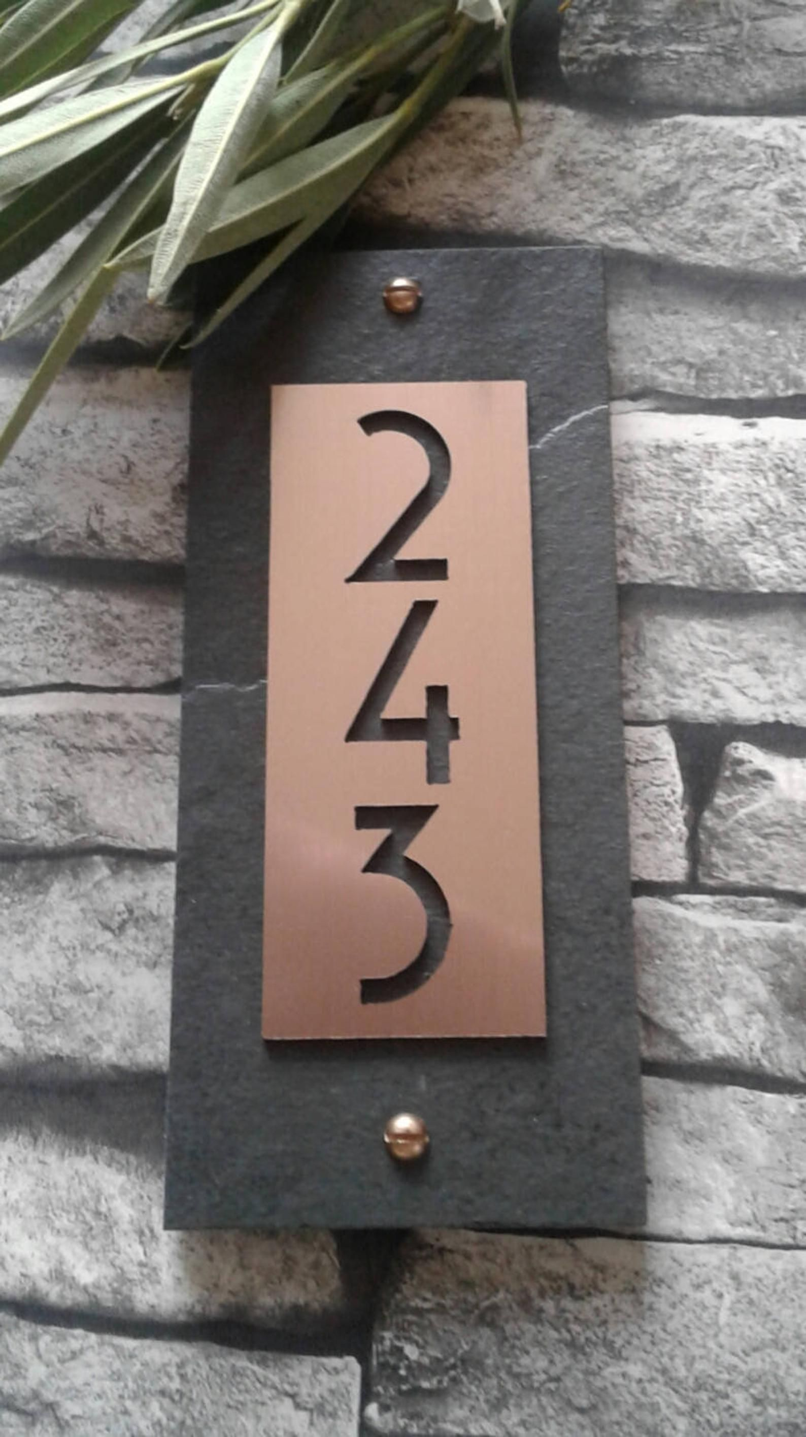 Modern Craftsman House Numbers Copper Vertical Address Plaque Modern House Numbers Sign Craftsman House Numbers Modern House Number