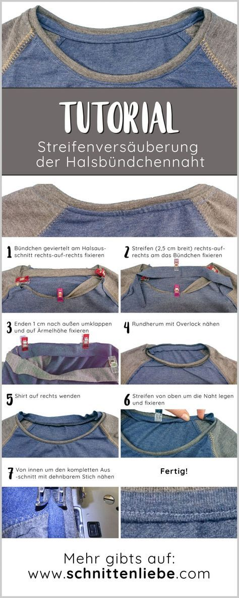 Halsbündchennaht mit Streifen verschönern - Anleitung #ponchos