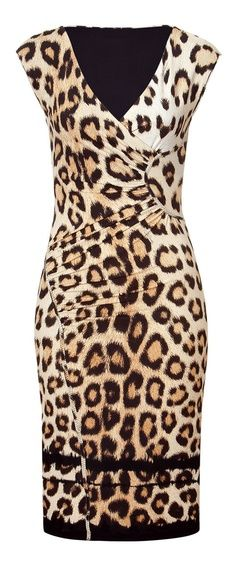 0944056321 ROBERTO CAVALLI Beige Black Leopard Print Dress