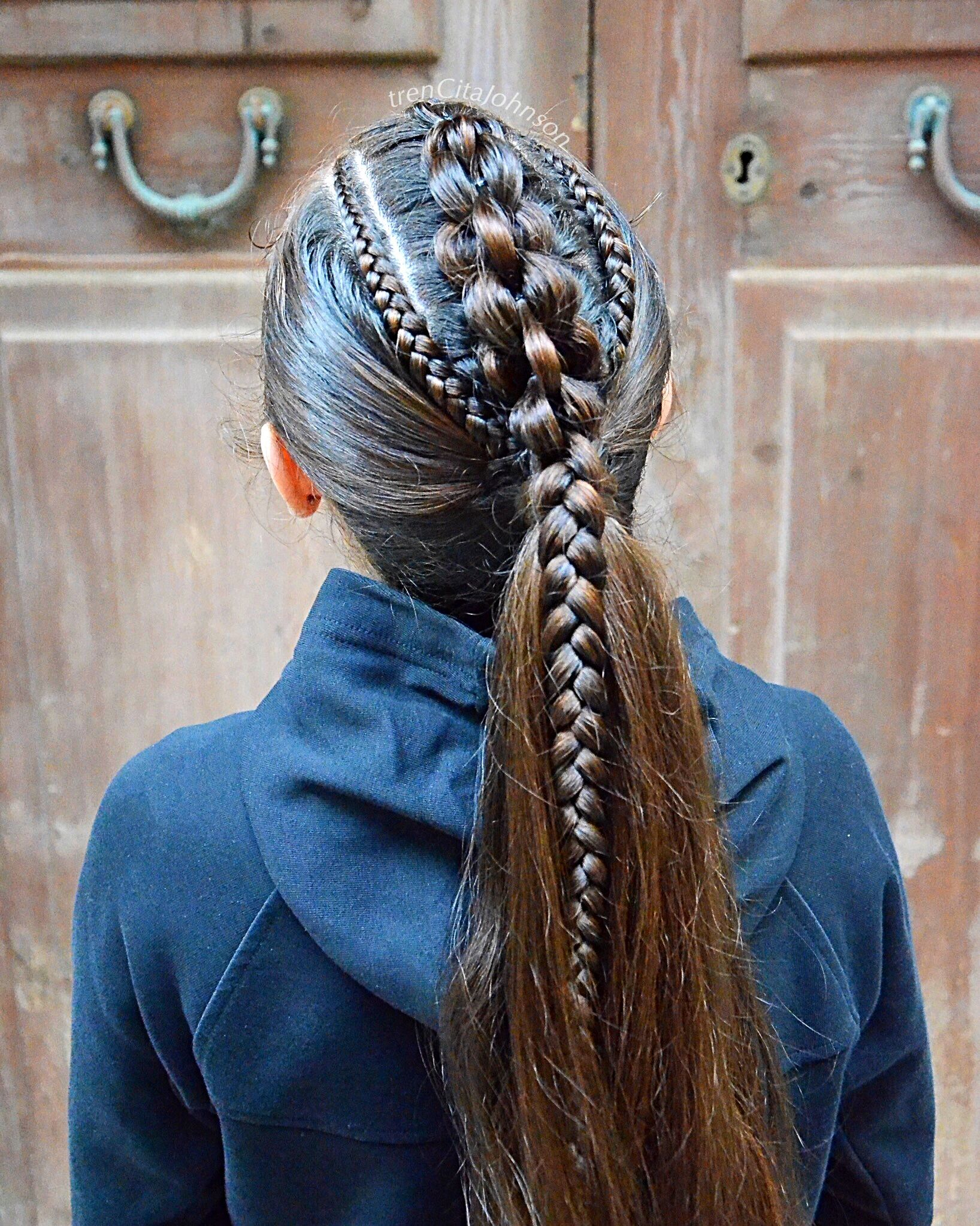 High Ponytail With Pullthrough Braid And Cornrows Viking