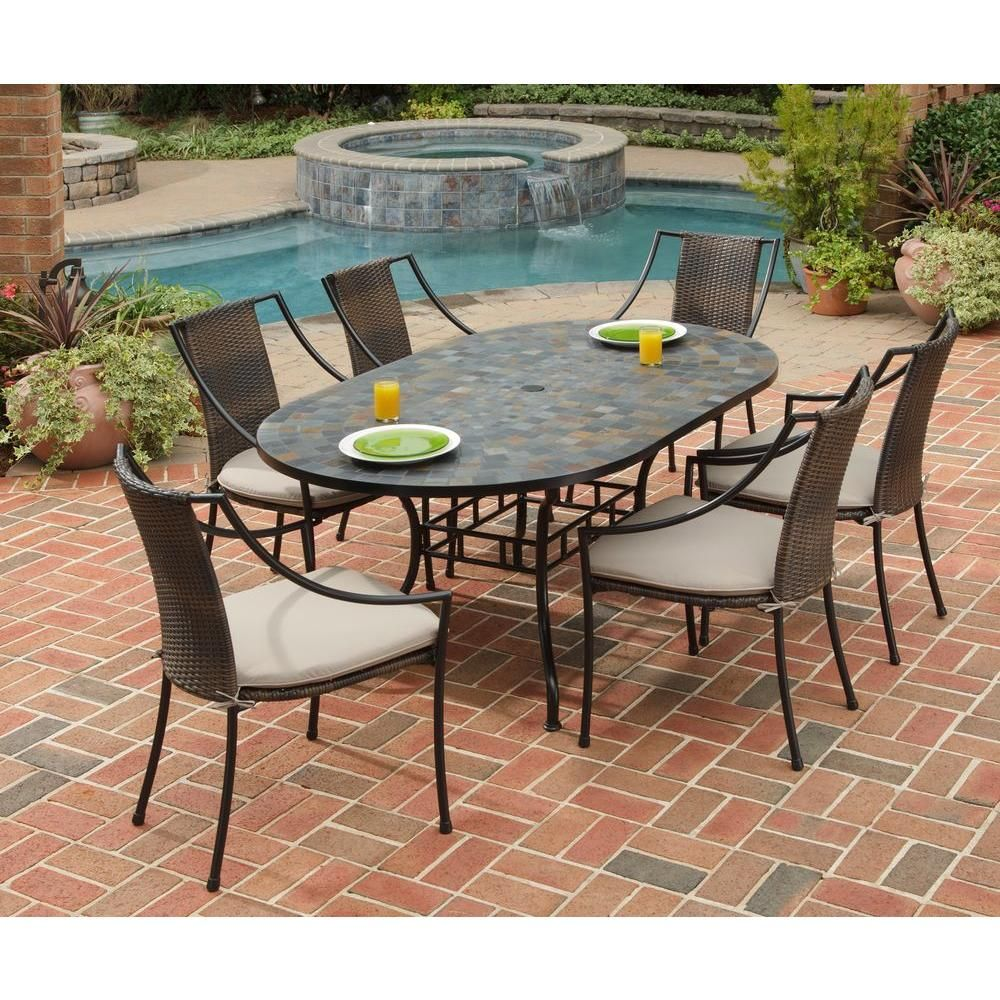 Homestyles Stone Harbor 7 Piece Oval Patio Dining Set With Taupe Cushions 5601 338 The Home Depot Oval Table Dining Outdoor Dining Table Patio Dining Set