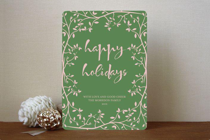Winter Garden Holiday Non-Photo Cards by Kampai De... | Minted