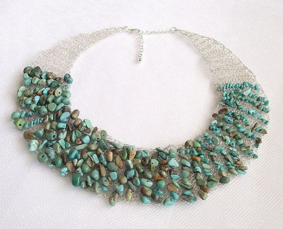 Turquoise Crochet Wire Necklace Gemstone Jewelry Green Turquoise