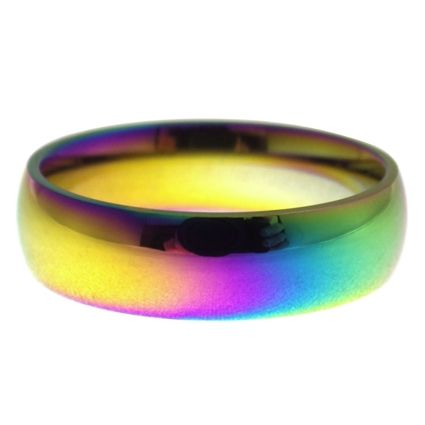Rainbow Casual Fashion Ring Stainless Steel Wedding Band is guaranteed not to causing an allergic reaction, designed for sensitive skin. 6mm wide comfort fit band, available in size 3, 4, 5, 6, 7, 8, 9, 10, 11, 12, 13, 14, 15, 16. Fantasy Forge Jewelry is an accredited member of the Better Business Bureau (BBB) maintaining an A+ rating. We offer free shipping within the USA. International shipping is only $5.95. Each purchase comes with a 100% satisfaction guarantee.
