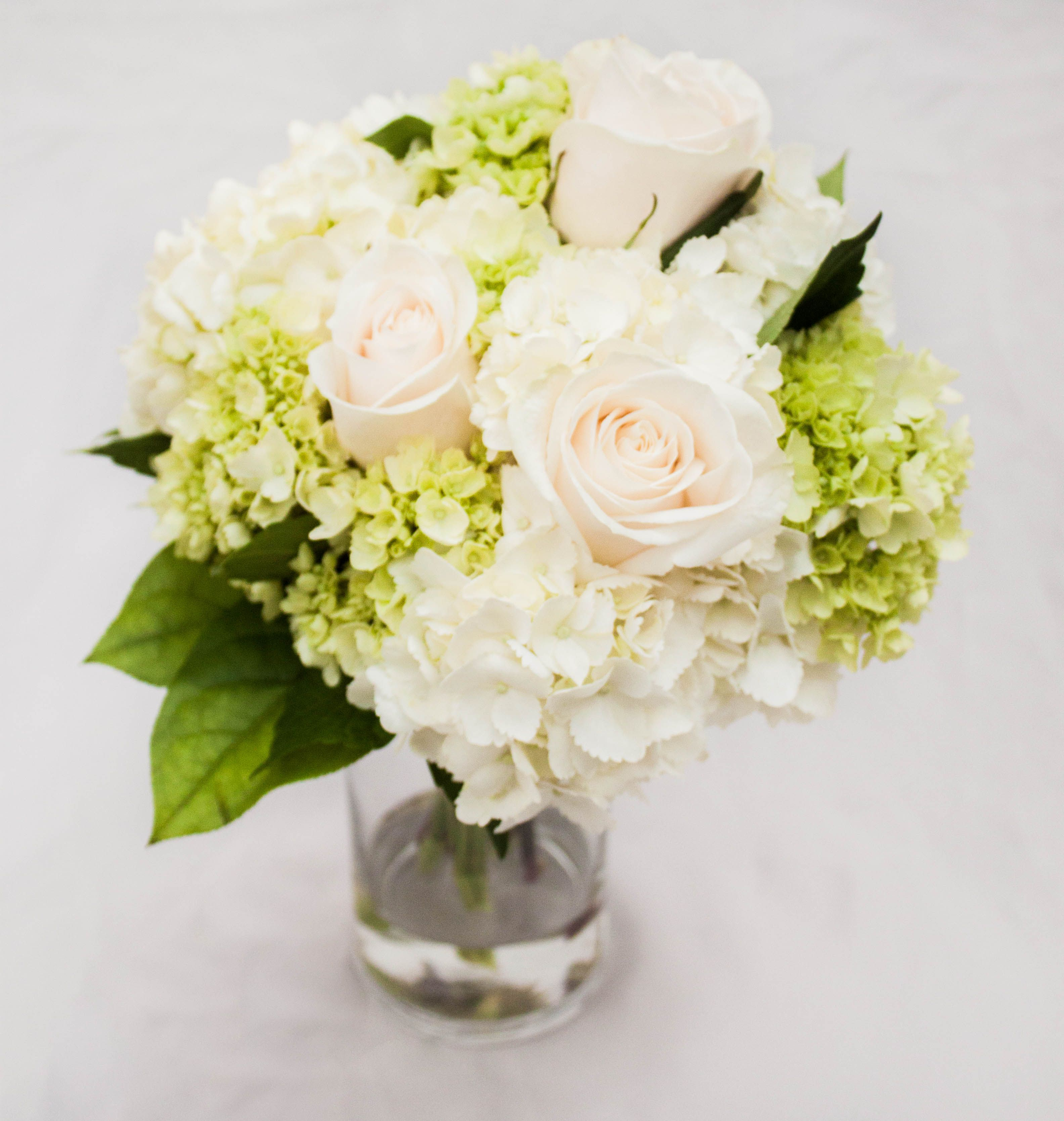Luminous Bridal Bouquet With Roses And Hydrangea Countryside Flower Nursery Crystal Lake Il 815 459 8130