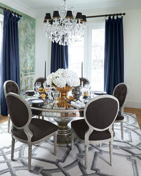 Eliza 96l Antiqued Mirrored Dining Table Yemek Masasi Sandalyesi