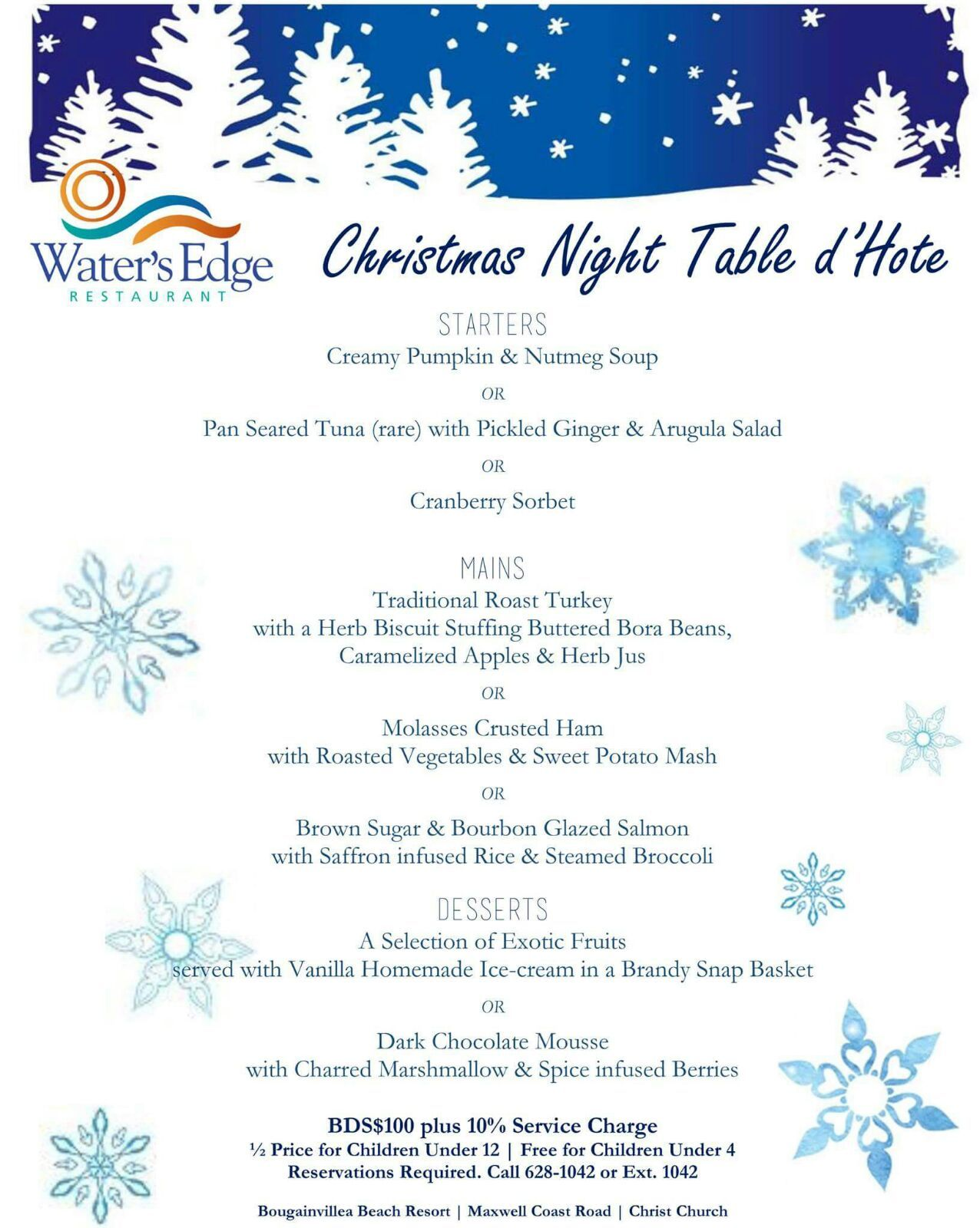 christmas night table d'hote at water's edge - barbados events