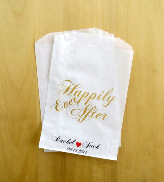 Faux Gold Foil Happily Ever After Custom Wedding Favor Bags ~ Personalized Treat Bags ~ Paper Bags