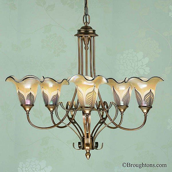 Interiors 1900 zina antique brass 5 light ceiling fitting with amber feather glass shades