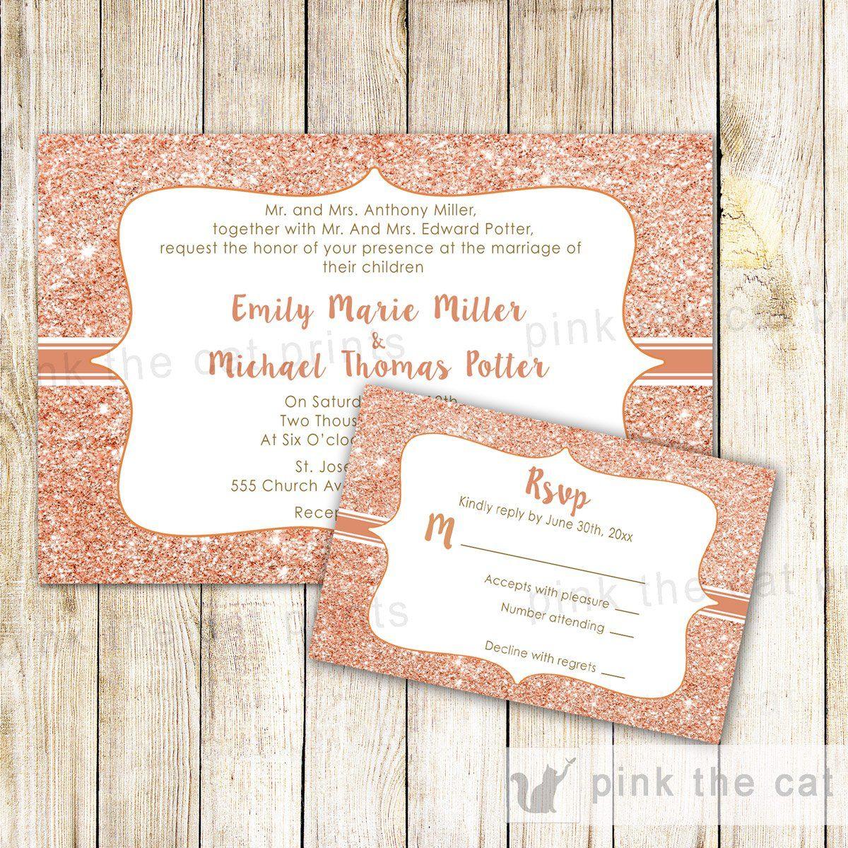 Rose Gold Glitter Wedding Invitations Rsvp Cards Pink The Cat Wedding Invitations Rsvp Cards Wedding Invitations Rsvp Wedding Invitations