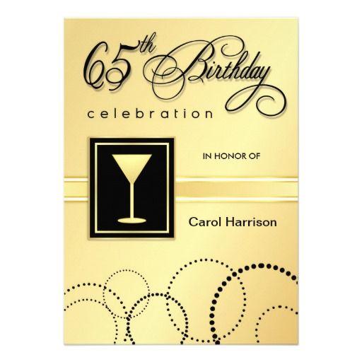 65th birthday party invitations gold