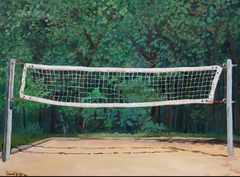 We Had A Badminton Net In The Backyard In Fredonia I Love Badminton To This Day We Played Volleyball On Myf Retreats Painting Volleyball Net Sports Painting