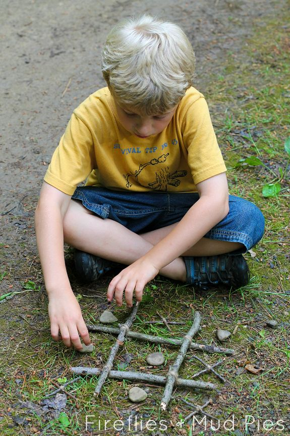 Nature Inspired Twig-Tac-Toe and 15 Nature Crafts for Kids - Fireflies and Mud Pies