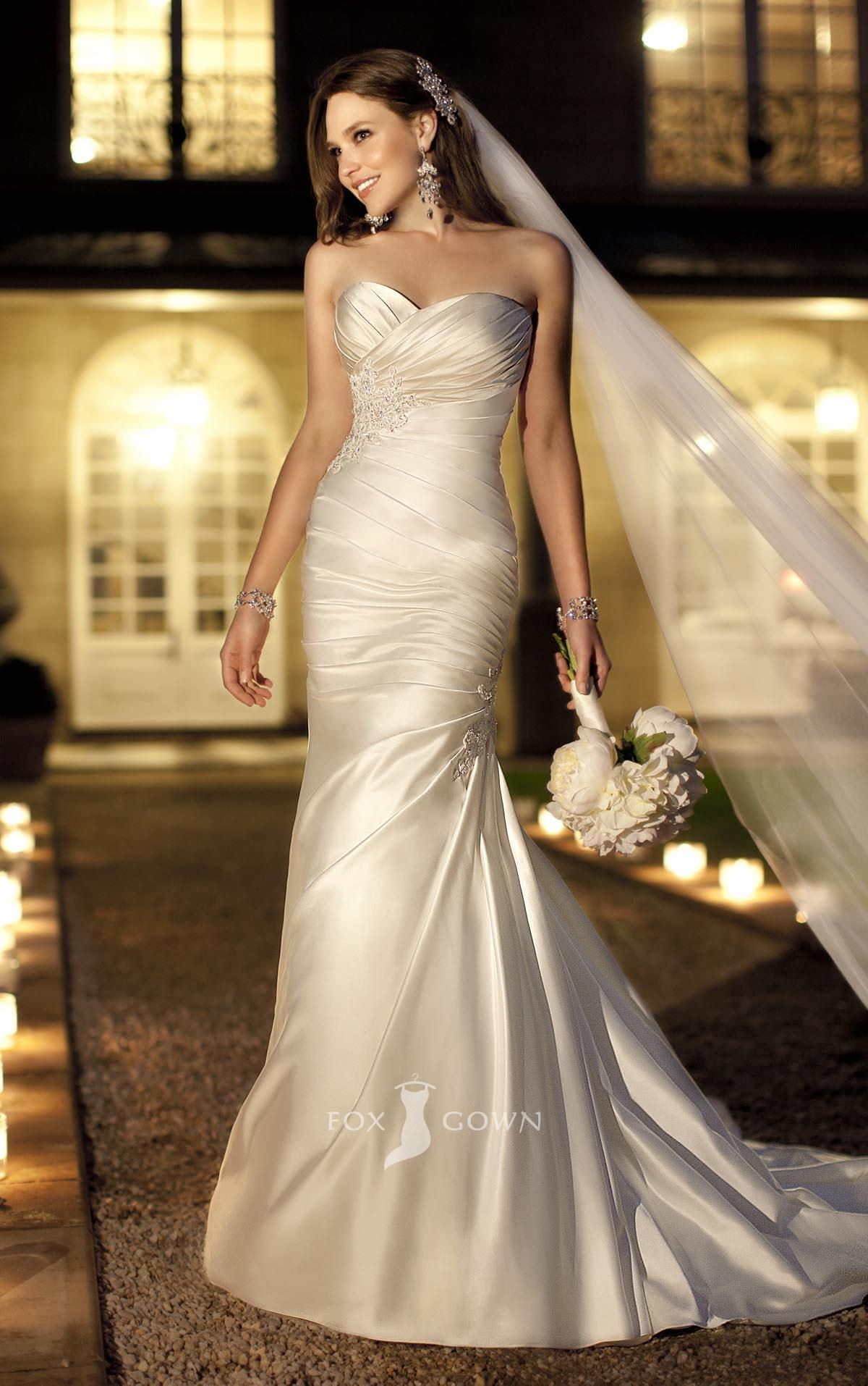 Elaborate Satin Sweetheart Strapless Trumpet Side Draped Ruched Wedding Dress