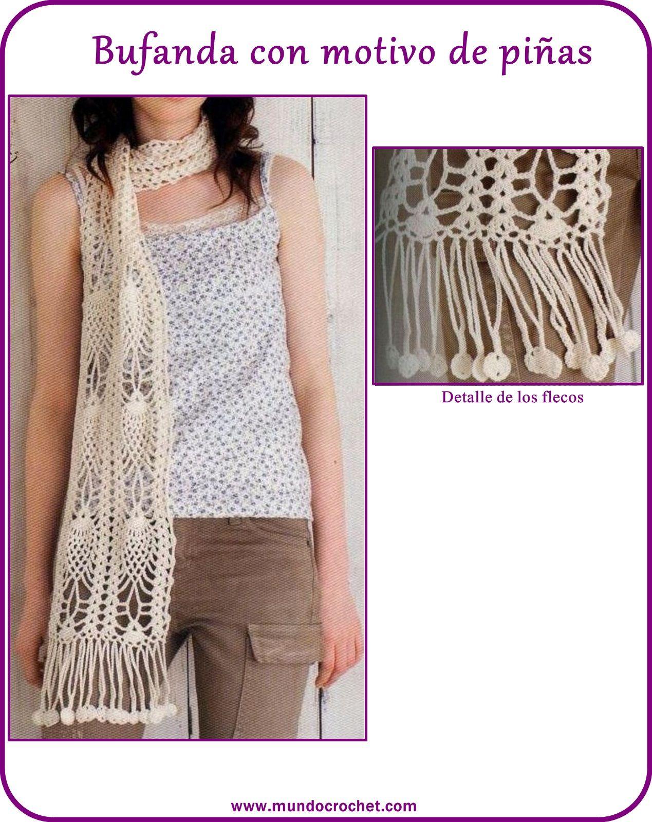 Bufanda crochet piñas | CROCHET / Dos Agujas - Bufandas, Chal ...