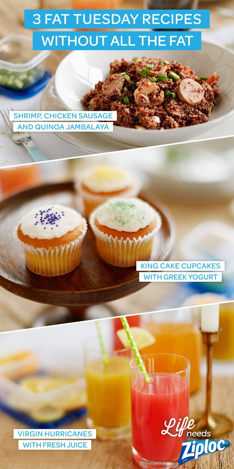 3 recipes for a lighter fat tuesday | party ideas made easy