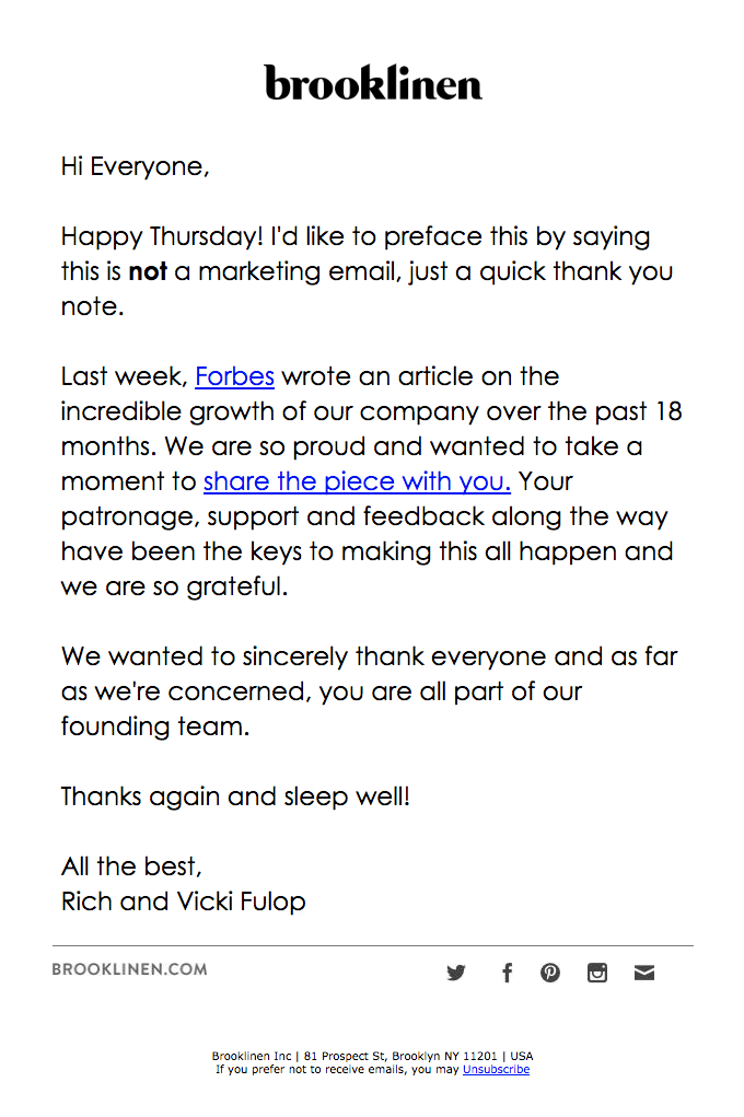 customer appreciation email from brooklinen remarkable emails
