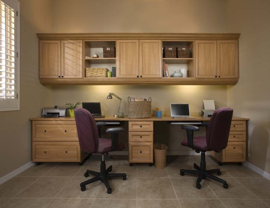 Furniture  Fabulous Conventional Home Office Design For Two People With  Cabinets And Drawer With Divine Elegant Purple Office Chairs And Stunning  Purple. Possible Layout  Desk on bottom   cabinets hanging off wall on top