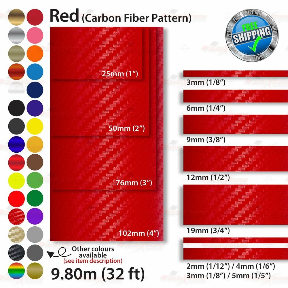 2mm 100mm Pinstriping Pin Stripe Tape Line Decal Vinyl Stickers Carbon Fiber Red Unbrandedgeneric Vinyl Sticker Car Decals Vinyl Pinstriping [ 1000 x 1000 Pixel ]