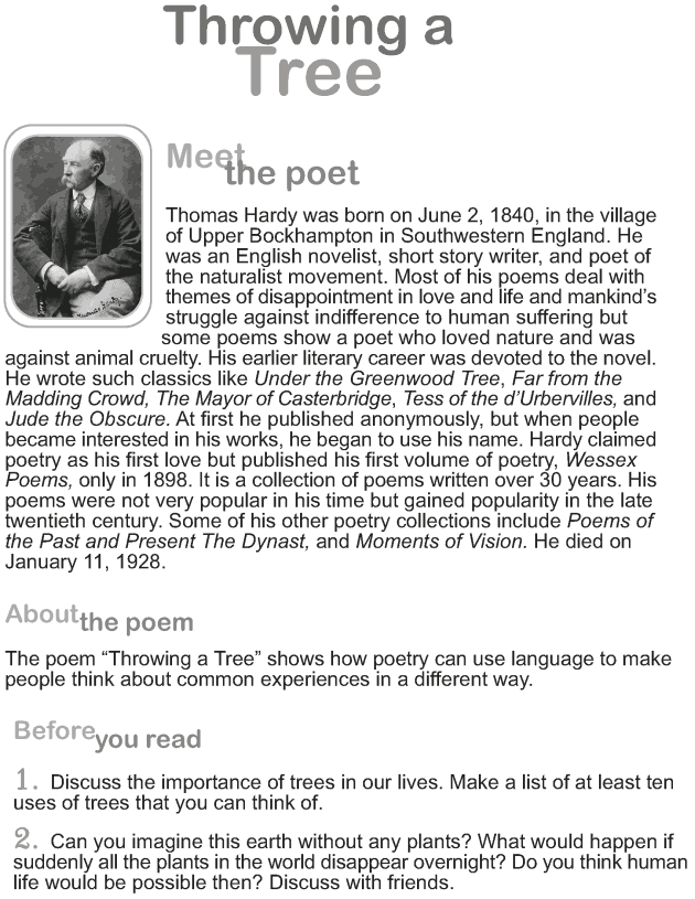 Grade 9 Reading Lesson 6 Poetry Throwing A Tree English Reading