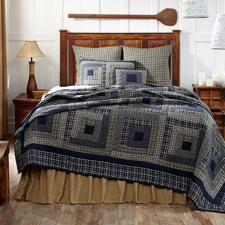 Columbus 5p King Quilt Set Navy Blue/Tan Primitive/Rustic Log Cabin W/
